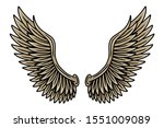 colorful vintage retro wings...   Shutterstock .eps vector #1551009089