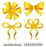 set of yellow ribbon bows... | Shutterstock .eps vector #1551091949