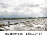 Farmer working in new rice field which is waiting for seeding, near sunset, YiLan, Taiwan. - stock photo