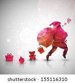 santa claus with gifts ... | Shutterstock .eps vector #155116310