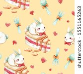 seamless pattern  cake  rabbit  ... | Shutterstock . vector #1551165263