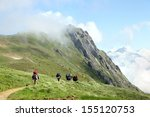 tourist team hiking on trail in ... | Shutterstock . vector #155120753