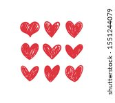 doodle hearts  hand drawn love... | Shutterstock .eps vector #1551244079