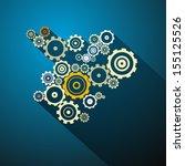 abstract vector cogs  gears on... | Shutterstock .eps vector #155125526