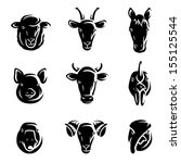 farm animals set. vector  | Shutterstock .eps vector #155125544