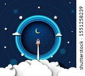 paper art of rocket ship launch ...   Shutterstock .eps vector #1551258239