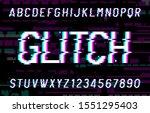 glitch alphabet font. pixel... | Shutterstock .eps vector #1551295403