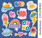 set of fashion patch  cute... | Shutterstock .eps vector #1551298283