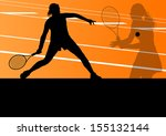 tennis players active sport... | Shutterstock .eps vector #155132144