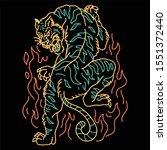 oriental tiger tattoo line art... | Shutterstock .eps vector #1551372440
