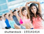 people in a gym class... | Shutterstock . vector #155141414