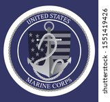 United States Marine Corps – Happy Birthday 1775. National military event is organised in 10th November. Emblem with anchor, flag, ropes, stars on the blue background for banner, web, flyer.