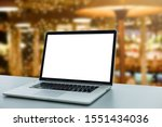 Image Of Open Laptop With Whit...