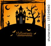 halloween icons over orange... | Shutterstock .eps vector #155144060