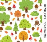seamless pattern autumn trees...   Shutterstock .eps vector #155148758