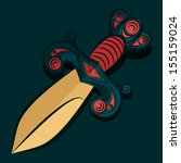 sharp dagger with barbed wire... | Shutterstock .eps vector #155159024