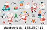 collection of happy santa... | Shutterstock .eps vector #1551597416