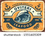 oysters vintage sign board for... | Shutterstock .eps vector #1551605309