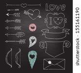 set wedding and valentine's day ... | Shutterstock .eps vector #155161190