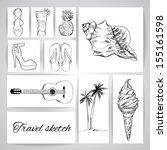 summer beach sketch. vector | Shutterstock .eps vector #155161598