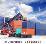 crane lifting up container in...   Shutterstock . vector #155166599