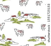 seamless pattern with cows and... | Shutterstock .eps vector #1551725153