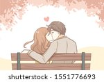 couple sweet kissing siting on... | Shutterstock .eps vector #1551776693