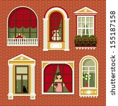 set of illustrations with a... | Shutterstock .eps vector #155187158