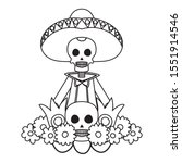 mariachi skull with flowers... | Shutterstock .eps vector #1551914546