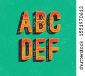 hand made letterpressed font in ... | Shutterstock .eps vector #1551970613