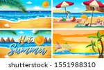 Four background scenes with illustration
