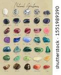 watercolor natural gemstones... | Shutterstock . vector #1551989390