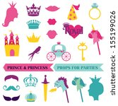 prince and princess party set   ... | Shutterstock .eps vector #155199026