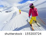 ski  skiers on ski run   child...   Shutterstock . vector #155203724