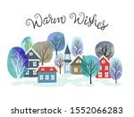 christmas card with watercolor... | Shutterstock .eps vector #1552066283