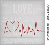 Red Heart Beats Cardiogram On...