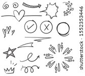 doodle set elements black on... | Shutterstock .eps vector #1552353446