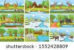 background scenes of animals in ... | Shutterstock .eps vector #1552428809