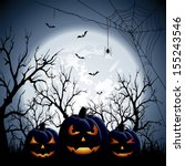 three halloween pumpkins on... | Shutterstock .eps vector #155243546