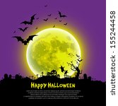 happy halloween message design... | Shutterstock .eps vector #155244458
