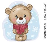 Cute Cartoon Teddy Bear In A...