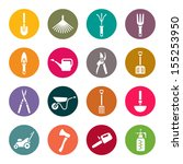 gardening tools icons set | Shutterstock .eps vector #155253950