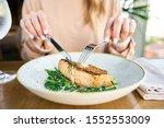Salmon Steak Fillet With Grainy ...