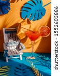 Pop art color cocktail glass