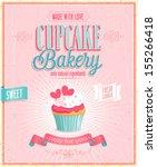 vintage cupcake poster. vector... | Shutterstock .eps vector #155266418