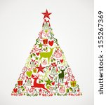 colorful merry christmas tree... | Shutterstock .eps vector #155267369