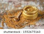 Natural mustard in a jar....