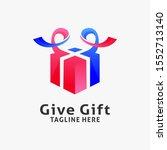 gift box logo design inspiration | Shutterstock .eps vector #1552713140