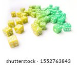 Colorful d6 dice in disorder
