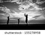 silhouette of family at dusk.   Shutterstock . vector #155278958